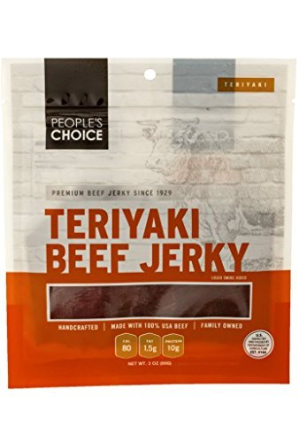 People's Choice Beef Jerky - Classic - Teriyaki - High Protein Meat Snack - 3 Ounce Bag (Pack of 3) by People's Choice Beef Jerky (Image #3)