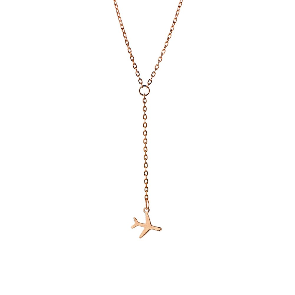 MANZHEN Tiny Gold Silve Black Airplane Plane Pendant Necklace Travel Jewelry for Women (Rose gold)