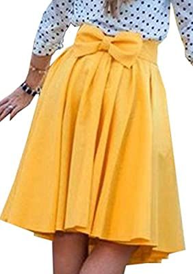 Jotebriyo Women's Midi Solid High Waisted Fashion Ruched Bowknot A-Line Skirt Yellow M