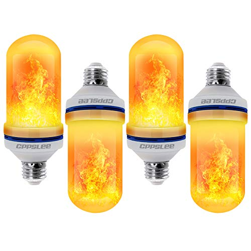 CPPSLEE - LED Flame Effect Light Bulb - 4 Modes with Upside Down Effect - 4 Packs E26 Base LED Bulb - Flame Bulbs for Festival/Hotel/Bar Party Decoration
