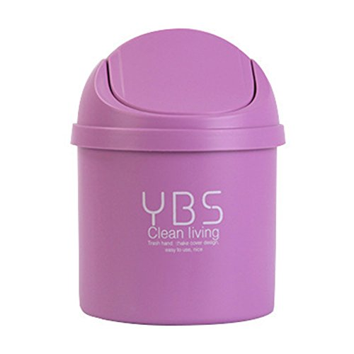 Office Desktop Portable Cute Mini Trash Can Car with Lid Recycle Plastic Desk Garbage Cans for Girls Kids Baby Countertop Cheap Small Plastic Storage Containers for Pen Pencil Drew (Purple)