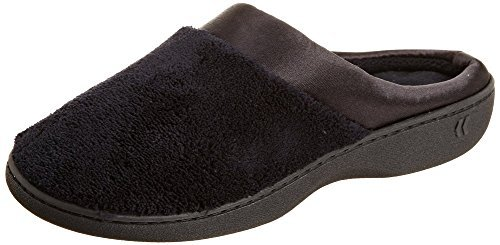 - Isotoner Women's Micro Terry PillowStep Satin Cuff Clog, Black, Large
