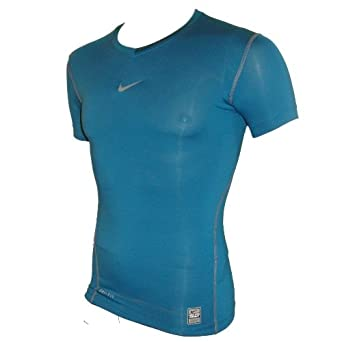 a02ae5b8 Nike Pro Combat Dri Fit Compression Baselayer/Top,Teal Blue: Amazon.co.uk:  Clothing