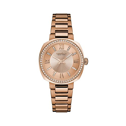 Caravelle New York Women's 44L224 Swarovski Crystal  Rose Gold Tone Watch