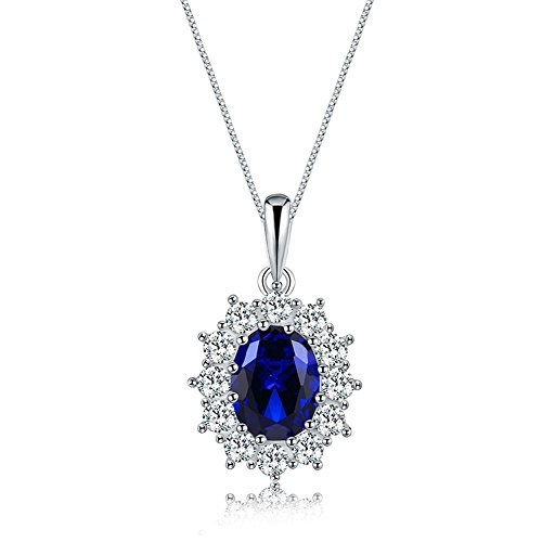 Mozume Princess Diana 9x7mm Blue Sapphire Pendant Necklace 925 Sterling Silver Box Chain 18 Inches (Diana Sapphire Necklace)