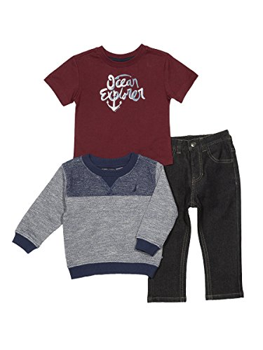 Nautica Baby Boys' French Terry Pullover, Tee and Denim Jogger Set, Retro Blue, 18 (Retro Baby Clothes)