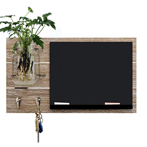 Round Rich Chalkboard with Mason Jar with 2 Key Hooks and 2 chalks for Wall - Rustic Wall Dcor