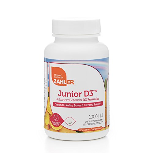 Zahler Junior D3 Chewable 1000IU, Kids Vitamin D, Great Tasting Chewable Vitamin D for Kids, Optimal Vitamin D3 1000 IU for Children,Certified Kosher, 120 Chewable Tablets (120 Count) - Kids 120 Tabs
