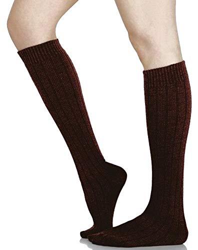 (SPANX Topless Ribbed Trouser Socks Hosiery (Brown Rib-Fuller Calf))