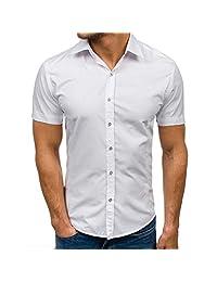 Naladoo Mens Button Shirt Tops Solid Color Short Sleeve Casual Lapel Slim Blouse