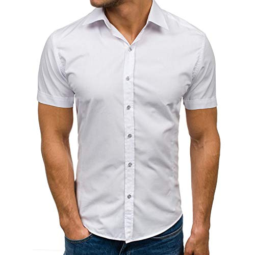 Curved Teapot - Men Summer Fashion Short Sleeve Button Down Blouse Top Curved Hem Tee Shirt Top Blouse by Lowprofile White