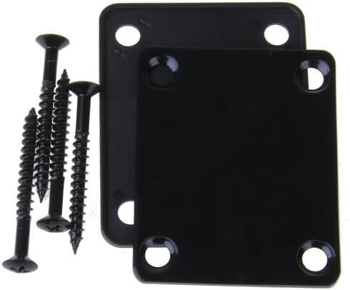 Placa de Cuello de Guitarra Eléctrica Tallada con 4 Tornillos para Guitarra Eléctrica de Estilo/Bajo Cromado/Negro