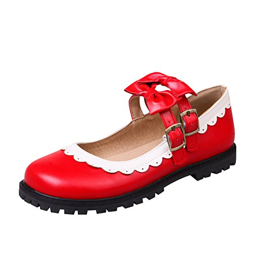 Charme Voet Dames Lolita Cosplay Boog Plat Mary Jane Schoenen Rood
