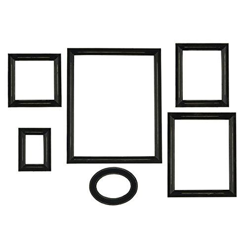 Melannco Distressed Empty Frame Set, Black, 6-Count