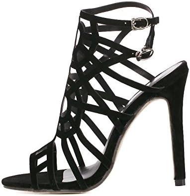 Sandales noires pour femme à trous à talon aiguille tendance