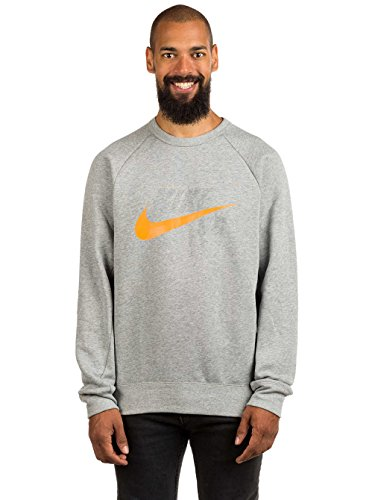 (Nike SB Icon Crew Men's Pullover Sweatshirt (Medium, Dark Grey Heather/Circuit Orange))