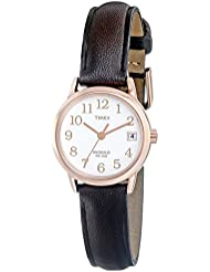 Timex Womens T2P564 Easy Reader Rose Gold-Tone Brown Leather Strap Watch