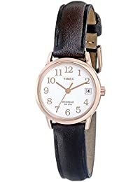 Women's T2P5649J Indiglo Leather Strap Watch, Dark Brown/Rose Gold-Tone