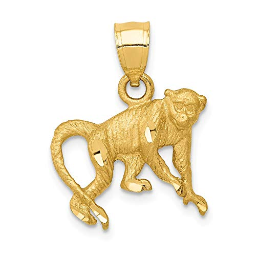 - 14k Yellow Gold Monkey Pendant Charm Necklace Man Fine Jewelry Gift For Dad Mens For Him
