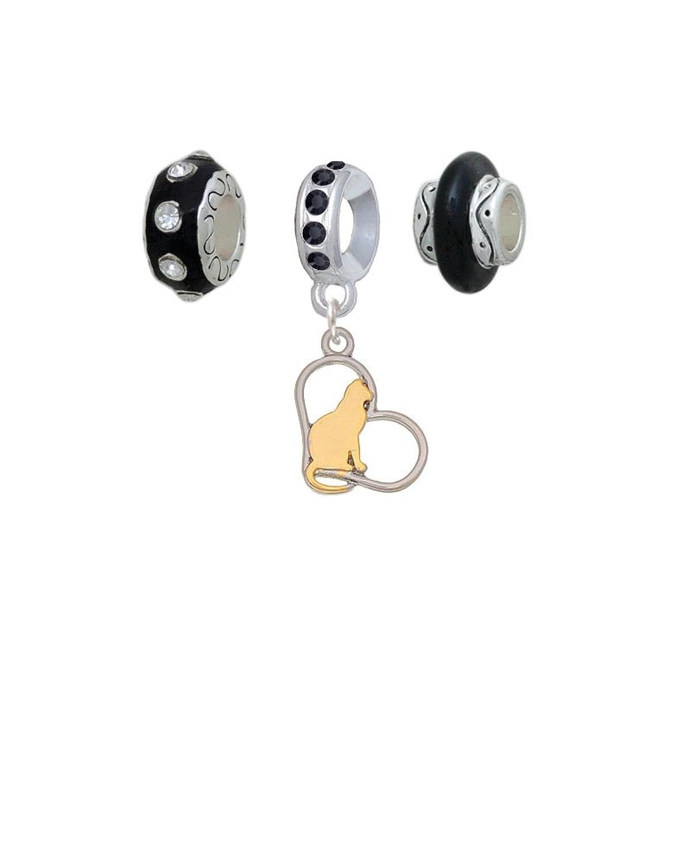 Cat Silhouette Heart Black Charm Beads (Set of 3)
