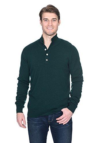 (State Fusio Men's Cashmere Wool Button Mock-Neck Classical Fashion Polo Collar Sweater Pullover)