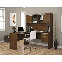 Bestar Furniture 90427-63 Flare L-Shaped Workstation with Simple Pulls and Scratches Stains and Wear Resistant Surface in Tuscany