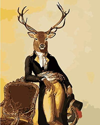 数字油絵 Diy デジタル 油絵子供大人初心者ギフ-角のある鹿 50cmX40cm (フレームレス)