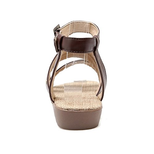 COOLCEPT Mujer Moda Al Tobillo Sandalias Punta Abierta Slingback Planos Zapatos Marron