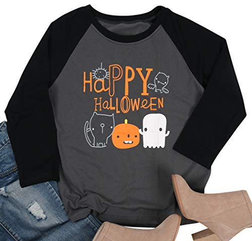 Tee Shirt Blanc Halloween (Happy Halloween Funny Pumpkin Shirts Women Ghost Face T-Shirt Baseball Raglan Long Sleeve Top Tee Shirts Size L)