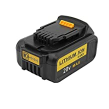 KINSUN Replacement Power Tool Battery 20V 3.0Ah Li-Ion for Dewalt Cordless Drill Impact Driver N123283, N123282, DCB201-2, DCB201, DCB200, DCB181-XJ, DCB181, DCB180 and More