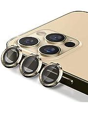واقي لعدسات الكاميرا MARGOUN لهاتف iPhone 12 Pro Max (6.7 بوصة)، غطاء واقي شاشة من سبائك الألومنيوم من الزجاج المقوى عالي الدقة (ذهبي)