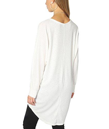 KRISP Camiseta Manga Larga Ancha Jersey Fino Asimetrico Largo Original Canalé Blanco