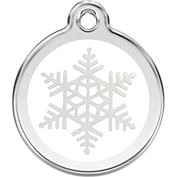 Amazon Com Red Dingo Snowflake Enamel Dog Tag White