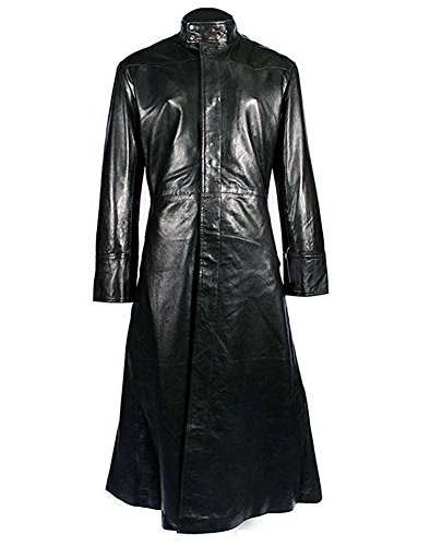 Ice Dream Halloween Black Leather Long Jacket Trench Coat (Man-L) (The Matrix Neo Costume)
