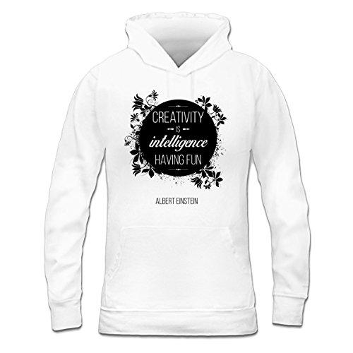 Sudadera con capucha de mujer Creativity is intelligence having fun by Shirtcity Blanco