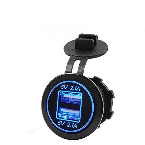 SODIAL 5V 4.2A Dual 2USB Cargador Adaptador de enchufe Toma de corriente para motocicleta coche 12V 24V (azul)