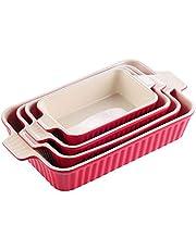 MALACASA, Serie Bake.Bake, Set di 4 stampi per Dolci in Porcellana Stampo per Dolci Pane teglia zuppa di 4 Dimensioni Rosso