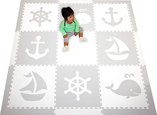 SoftTiles Kids Play Mats-Nautical Ocean Theme-Premium Thick Foam Children's Playmat for Nursery and Playroom 6.5 x 6.5 ft. (Light Gray, White) SCNAUWH