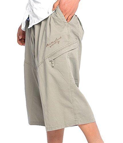 YangguTown YGT Mens Full Elastic Waist Capri Shorts Cotton 3/4 Cargo Shorts
