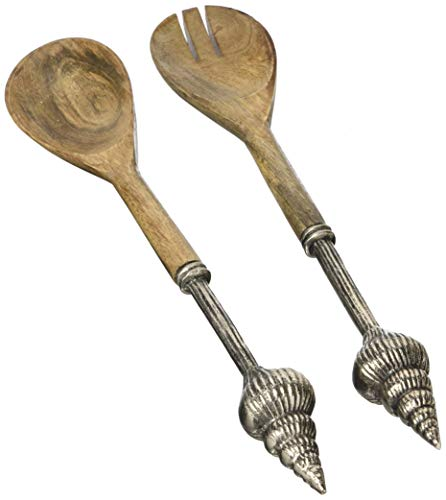 Brown Pie Server - Mud Pie 4631043 Metal And Wood Shell Salad Serving Utensils, One Size, Brown/Silver