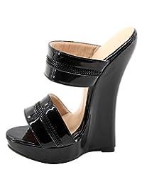 "Wonderheel 7"" Wedge Heel Slip on Black Patent Sexy Women Platform Sandals"