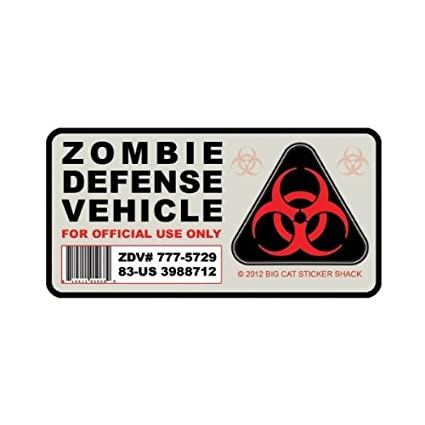 Zombie defense vehicle bumper sticker