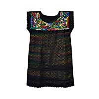 VESTIDO OAXACA TELAR NEGRO COLORES. Bordado a mano, Tela de telar en Algodón y bordado en hilo de Seda de colores, Oaxaqueño 100%. MÉXICO