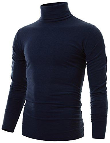 Ohoo Mens Slim Fit Soft Cotton Long Sleeve Pullover Lightweight Turtleneck /DCT001-NAVY-M