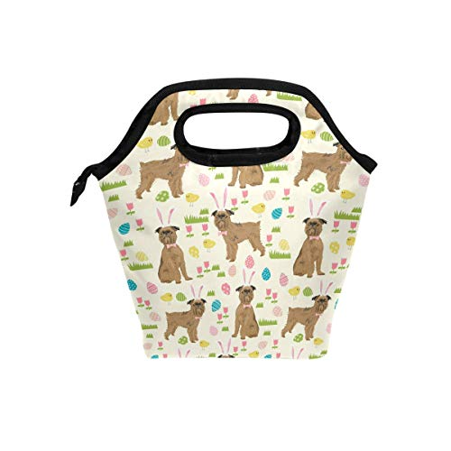 Lunch Tote Bag with Brussels Griffon Dog Beige Print- Insulated Reusable Lunch Box, BaLin Thermal Colder Lunchbox for School Work Office