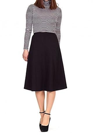 Everyday High Waist A-line Flared Skater Midi Skirt (XL, Black) (Midi Skirt Black)
