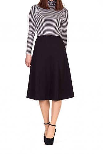 Everyday High Waist A-line Flared Skater Midi Skirt (S, (Black A-line Skirt)