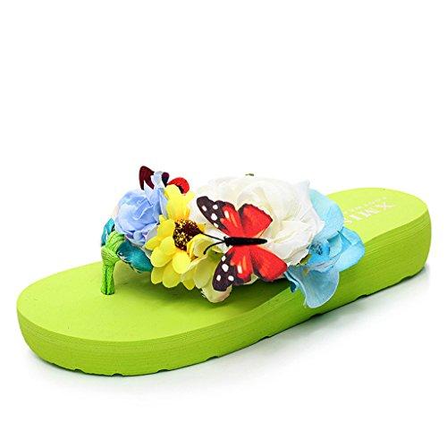 Eagsouni® Damen Mädchen Böhmen süße Blume Plateau Sandalen Pantoletten Flip Flops Keilabsatz Zehentrenner Sommer Freizeit Strandschuhe Hausschuhe #1Grün