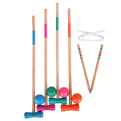 Croquet Games Set, Wooden Outdoor Sports Croquet Yard Toy Game, Family Educational Games for Kids for Kids Toddlers Boys Girls fit 2-4 Players (Multicolor)