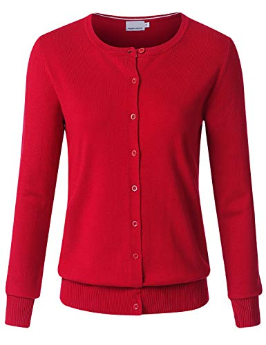 JSCEND Women's Long Sleeve Button Down Crew Neck Soft Knit Cardigan Sweater RED XL ()